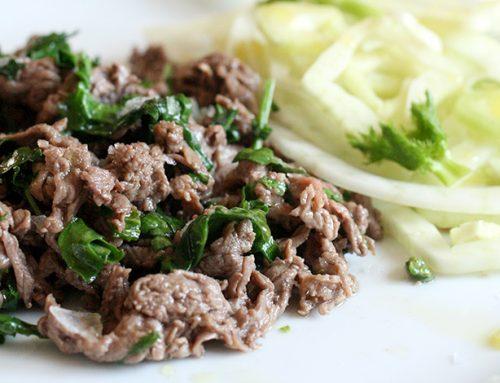 Straccetti di carne con la rucola