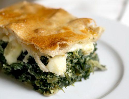 Torta salata di misticanze e formaggi bradi